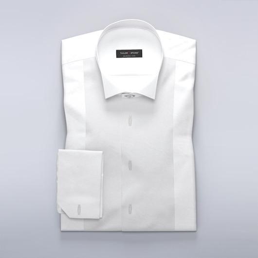 Klassisches weißes Krawatten-Hemd mit Knopflochleiste für Hemdknopfstecker