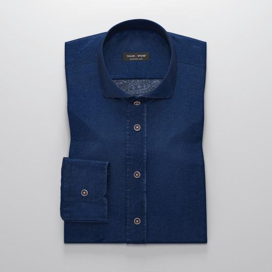 Denim dress shirt with paisley printed reverse