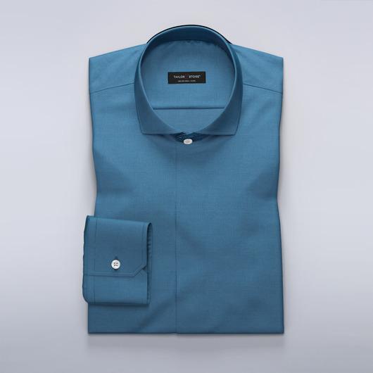 Chemise sur mesure à motif bleu moyen