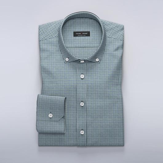 Klassisk rutete dresskjorte i grønn og marineblå farge.