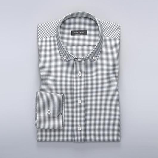 Dresskjorte med lite gingham-mønster i grå farge