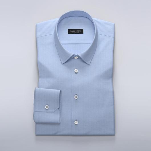 Light blue business dress shirt in herringbone
