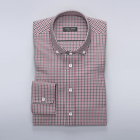 Rutete dresskjorte i vinrød/sort