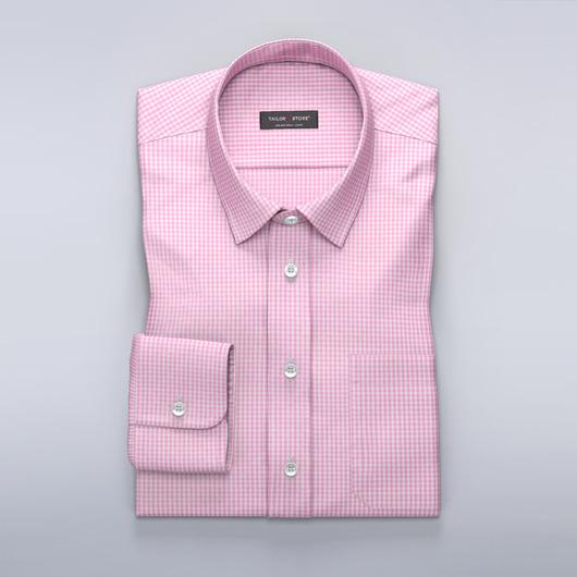 Hvit/Rosarutet poplinskjorte