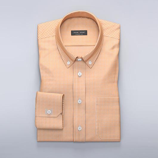 Vit/Orangerutig skjorta