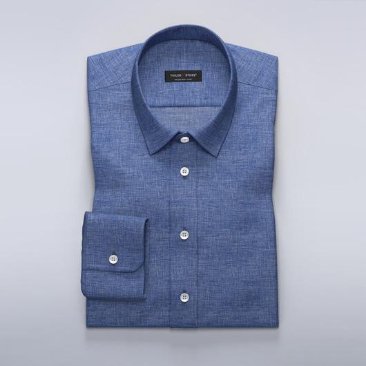 Blå linneskjorta med business-krage