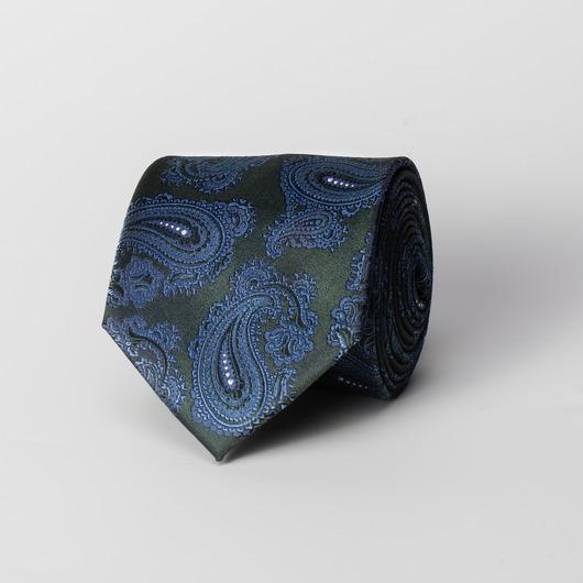 Zielony jedwabny krawat paisley