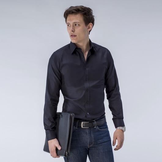 French Oxford-skjortei ensfarget sort.