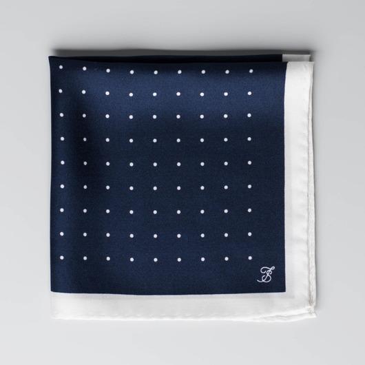 Navy og hvid silke lommeklud