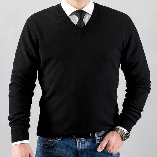 V-Neck merino wool sweater, black