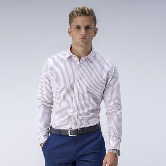 Trendy wit overhemd met smalle rode strepen