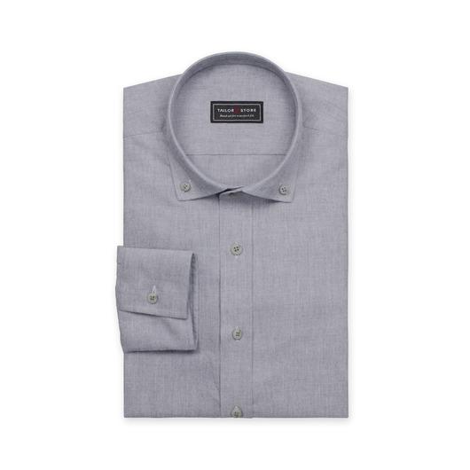 Chemise en coton à col button-down en gris foncé