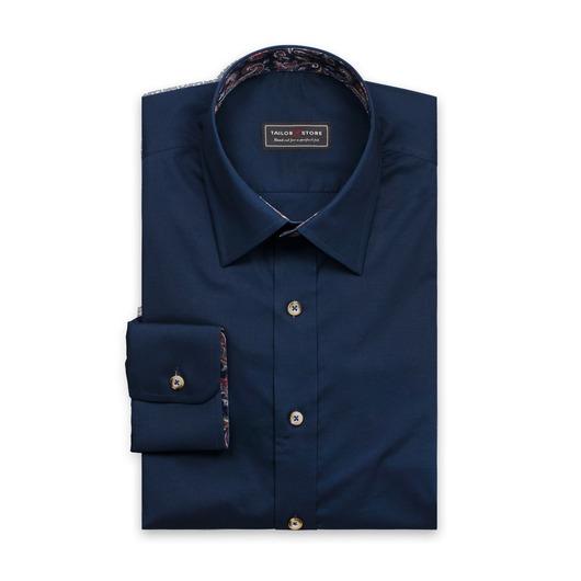 Navy overhemd met discrete contrasten