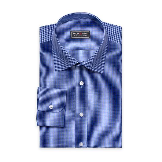 Blau/weiß kariertes Popeline Hemd