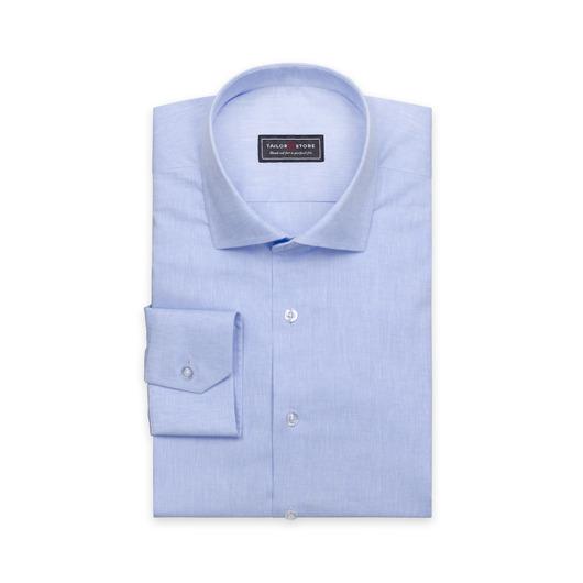 Ljusblå skjorta med cut-away-krage i bomull/linne