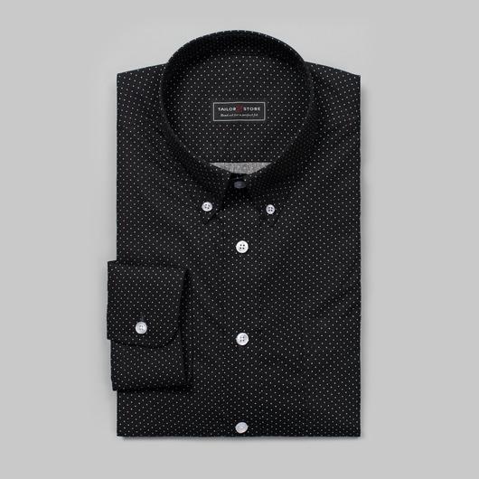 Sort/Hvit prikketepoplinskjorte