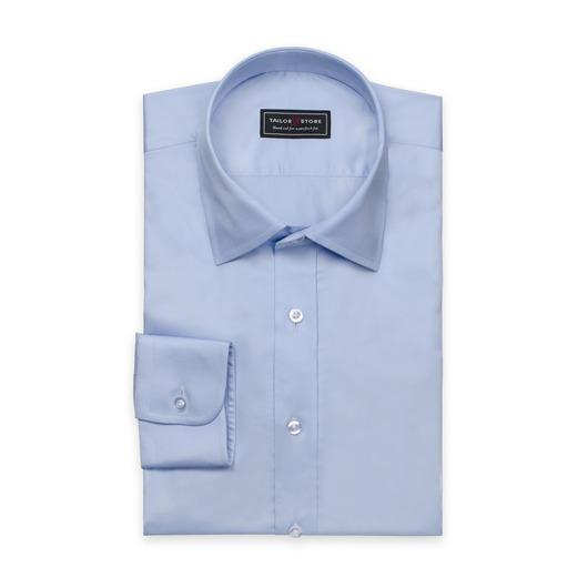 Lichtblauw overhemd van satijn-katoen