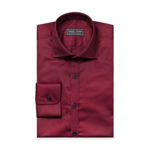 Chemise en coton satiné en rouge bordeaux