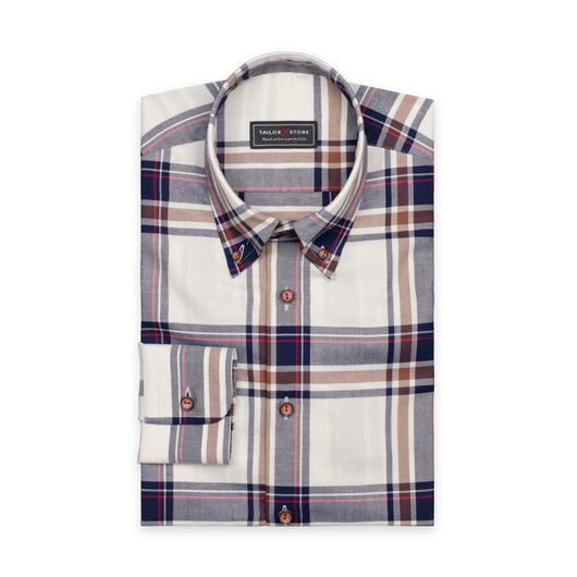Chemise à gros carreaux en bleu marine/brun/rouge