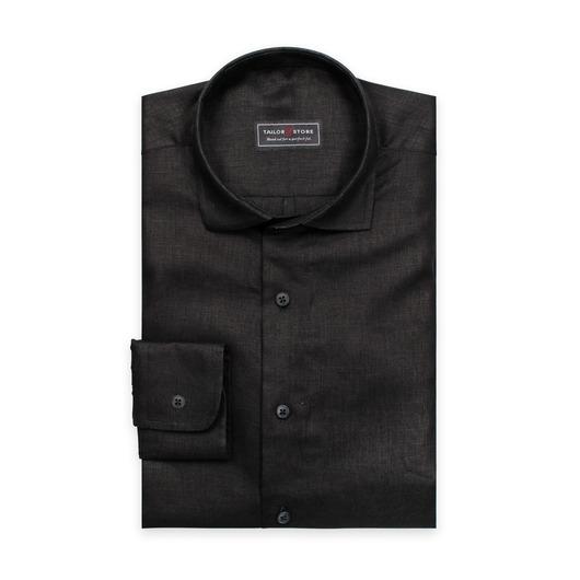 Svart linneskjorta med cut-away casual-krage