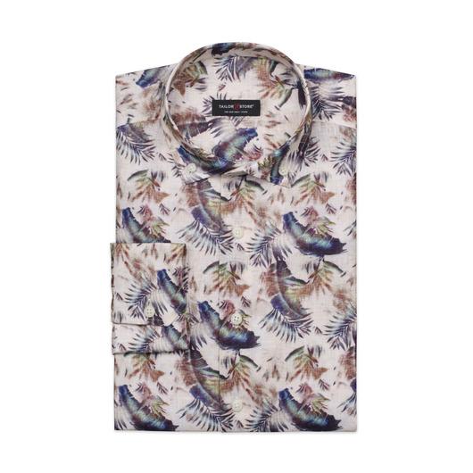 Limited edition, dresskjorte i lin med fjærtrykk