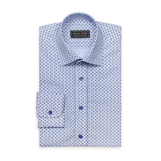 Blå paisleymønstret poplinskjorte
