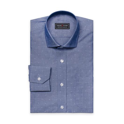 Dark blue dobby weave cotton shirt
