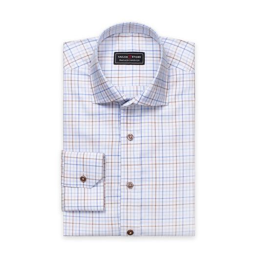 Vit/Blå/Brunrutig oxfordskjorta
