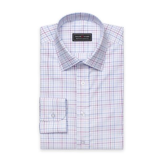 Lila/Vit/Blårutig oxford skjorta