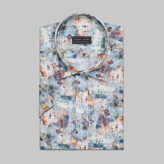 Linen print dress shirt<br>