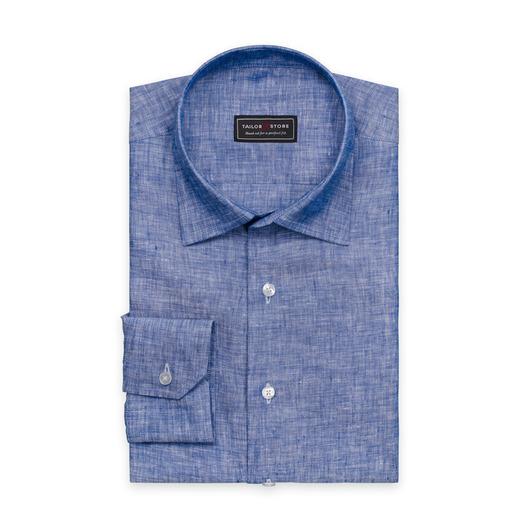 Blaues Leinenhemd mit Business-classic Kragen
