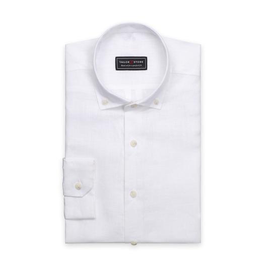 Vit linneskjorta med button-down modern-krage