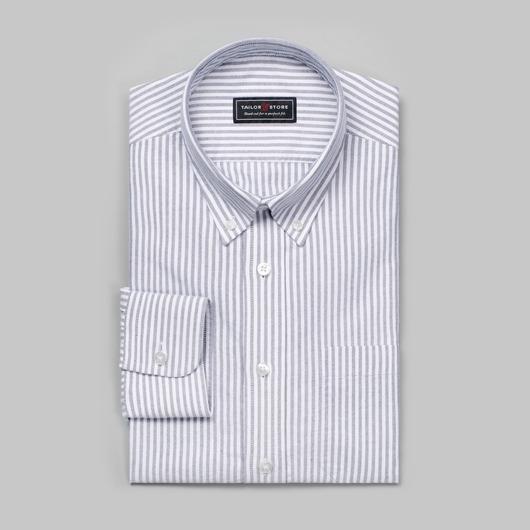 Weiß/schwarz gestreiftes Oxford-Hemd