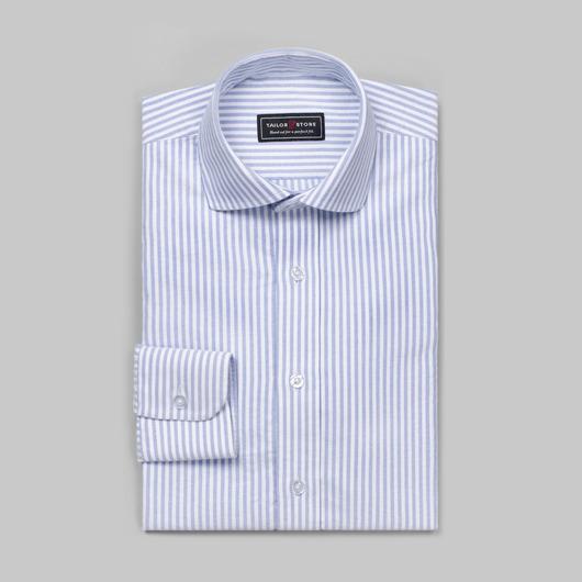 Hvid/Blåstribet oxfordskjorte