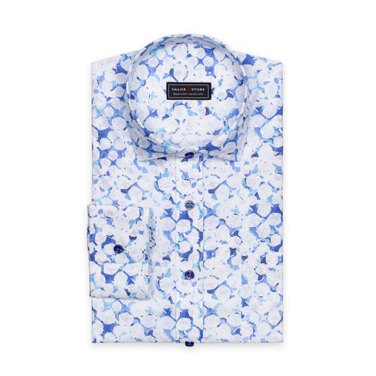 Blå/hvid mønstret bomulds skjorte