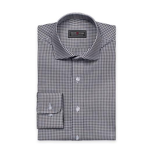 Hvit/Svartrutete poplinskjorte