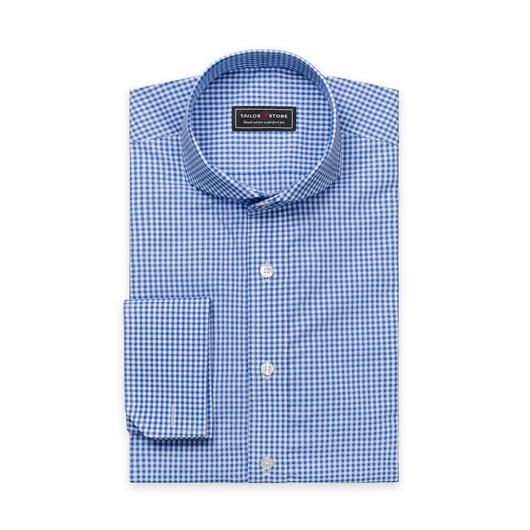 Hvid/Blå ternet slim-fit skjorte i poplin