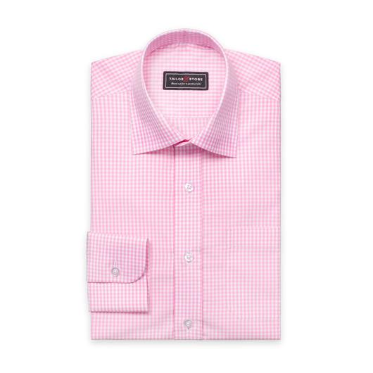 Wit/roze geruit poplin overhemd