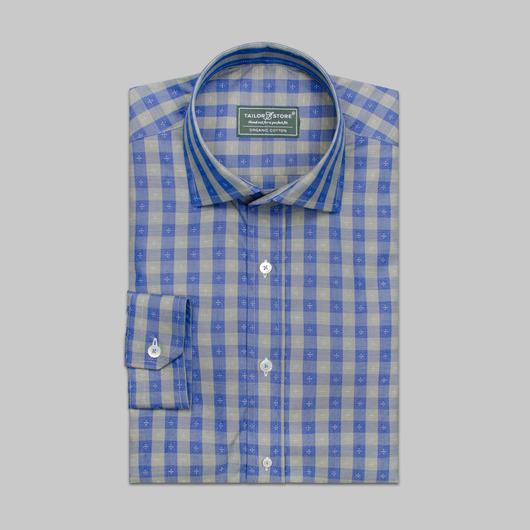Blå/grønnrutete skjorte i økologisk bomull