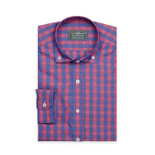 Blå/rödrutig skjorta i ekologisk bomull