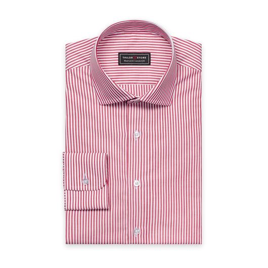 Rood/Wit gestreept poplin overhemd