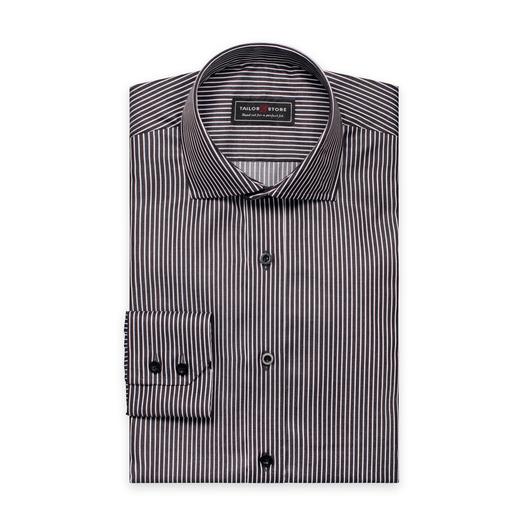 Sort/Hvidstribet twill skjorte