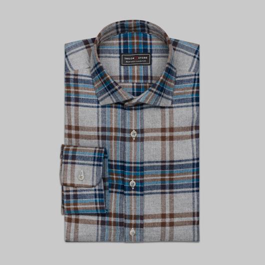 Niebiesko-szara flanelowa koszula w kratkę