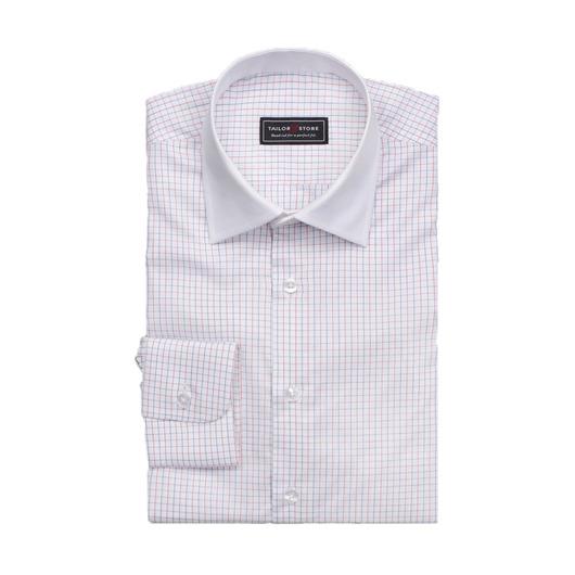 Rød/blå/hvid ternet business skjorte