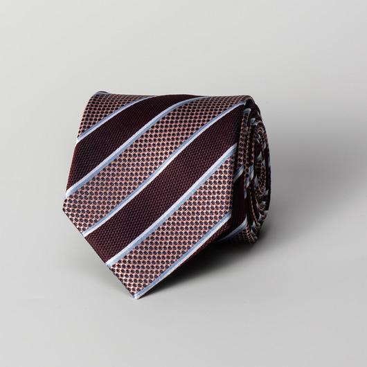 Donkerrode gestreepte zijden stropdas
