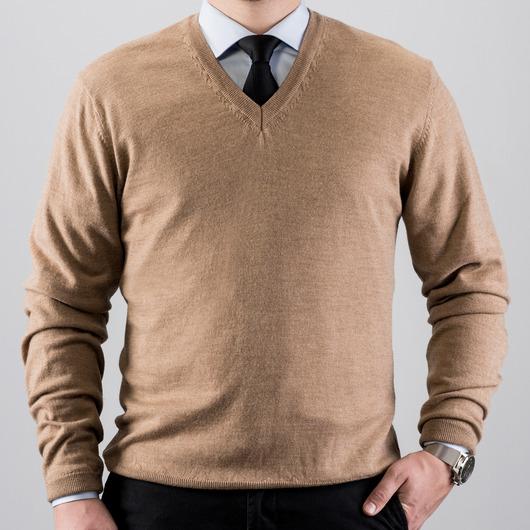 V-Neck merino wool sweater, camel