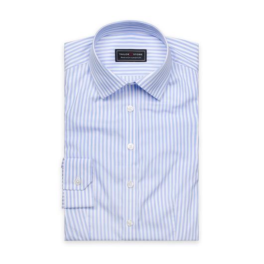 Vit/Ljusblårandig poplinskjorta